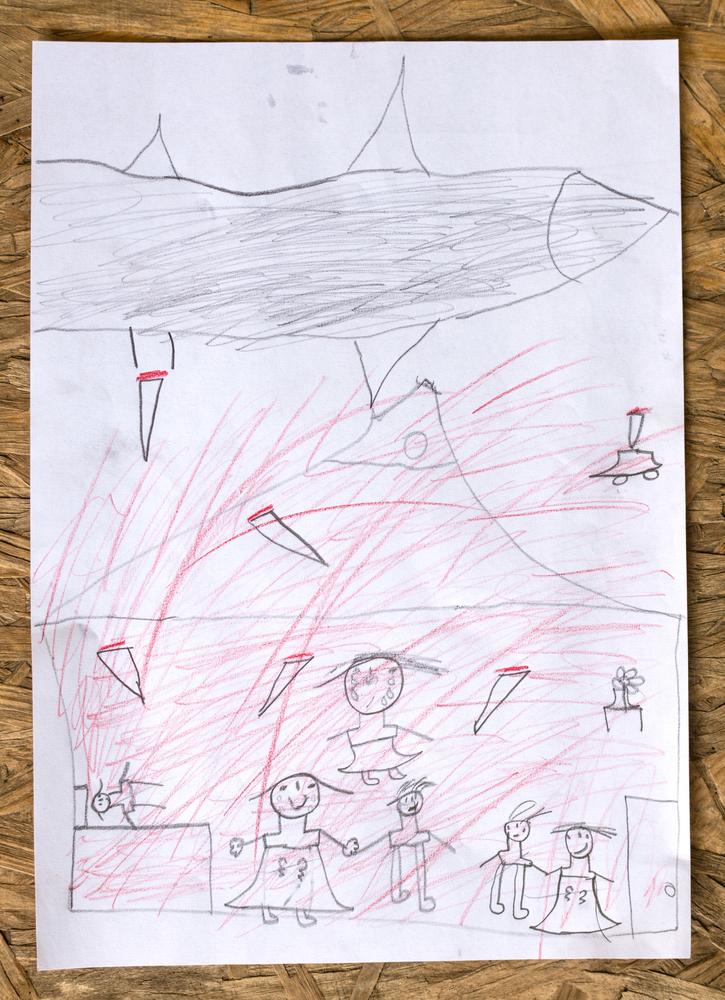 kindertekening uit moria over de situatie in het thuisland