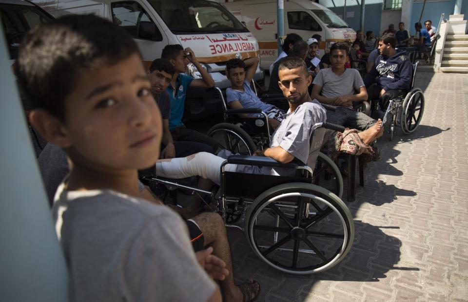 Mohammed blessé par balle au genou lors d'une manifestation. ©Alva Simpson White, septembre 2018