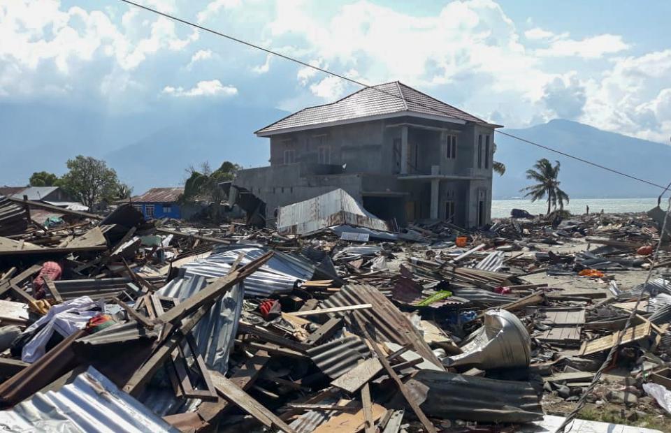 De schade in Talise, een wijk in de stad Palu op het Indonesische eiland Sulawesi, na de aardbeving en tsunami