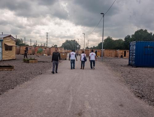 Het vluchtelingenkamp van Grande-Synthe in juli 2016