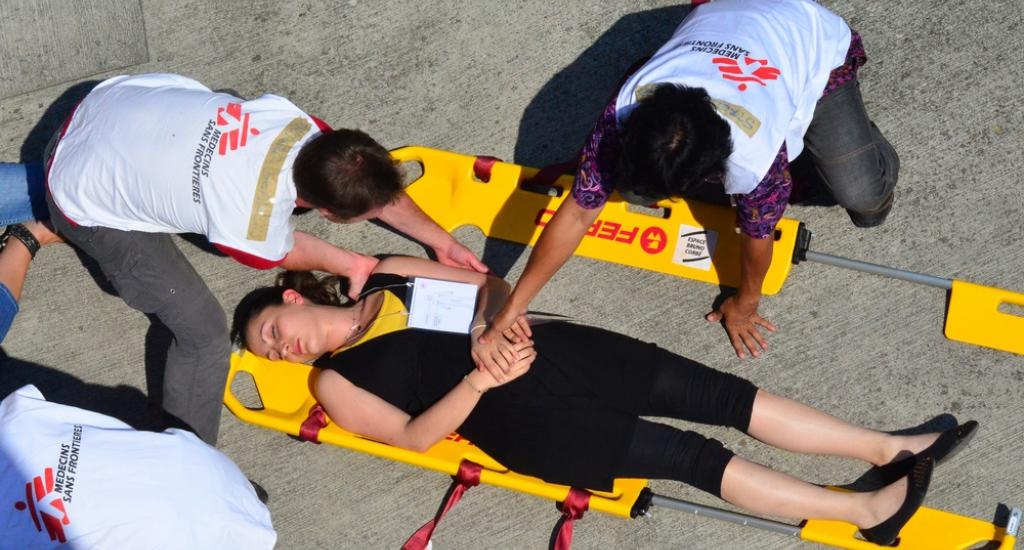 Une entreprise réalise un teambuilding au centre EBC de MSF