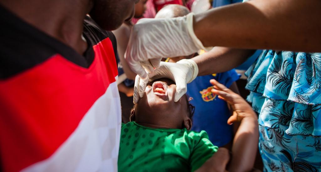 Artsen Zonder Grenzen vaccineert tegen mazelen in Conakry, Guinée.