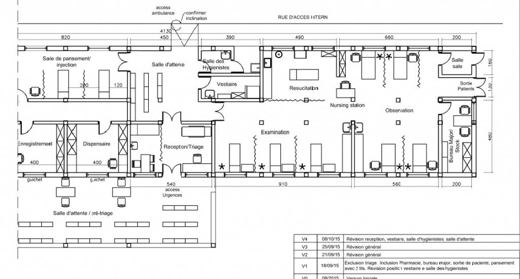 Plan van de spoedafdeling van het ziekenhuis van Bangassou © AZG